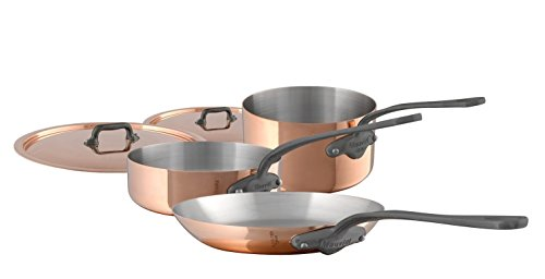 Mauviel M'Heritage M150C 6450.01-5 Piece Copper Cookware Set with Cast Stainless Steel Iron Eletroplated Handle Set includes 1.9Qt Sauce Pan w/Lid; 3.5Qt Saute Pan w/Lid and 10.2