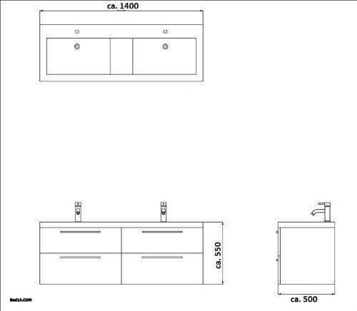 Badezimmer Möbel / Waschbecken / Doppelwaschtisch / Badmöbel / Unterschrank / Waschplatzlösung / Modell Garda-1440 / Farbe: Braun / Waschtisch - 6
