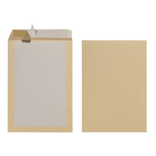sandtasche B4 mit Papprückwand, Haftklebung, braun, 10 Stück eingeschweißt 130g Pappe (Große Kartons)