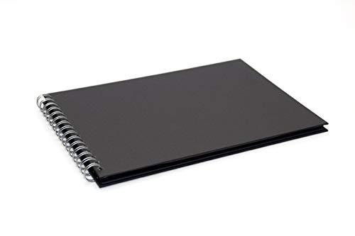 Pink Pig- Álbum de recortes, formato A4 apaisado, hecho de papel negro reciclado, 20 páginas