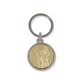 Anzm Schlüsselanhänger Christopherus goldfarben Rückseite: glatt Gesamtlänge 7 cm - Motiv 3,2cm (9519319245395)