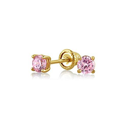Kleine Zirkonia Rosa Simulierten Pink Topas CZ Runde Solitär Ohrstecker Echte 14K Gelb Gold Screwback - Für Diamant-ohrringe Screwback