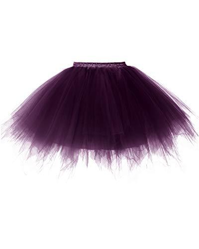 (bridesmay Tutu Damenrock Tüllrock 50er Kurz Ballet Tanzkleid Unterkleid Cosplay Crinoline Petticoat für Rockabilly Kleid Grape L)