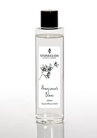 'White Orchid' Scented Reed Diffuser REFILL OIL - POMEGRANATE BLANC . 200ml. up to 16 week scenting. Flame free constant scenting. Stoneglow