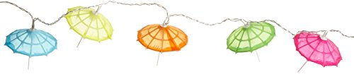 Best Season Party-Kette Party Lights Umbrella, 10-teilig Material Kunststoff, warmweiß LED, Bunte Schirme circa 2,35 m, Kabel, Outdoor, Vierfarb-Karton, transparent 476-28 - Outdoor-led Umbrella Light