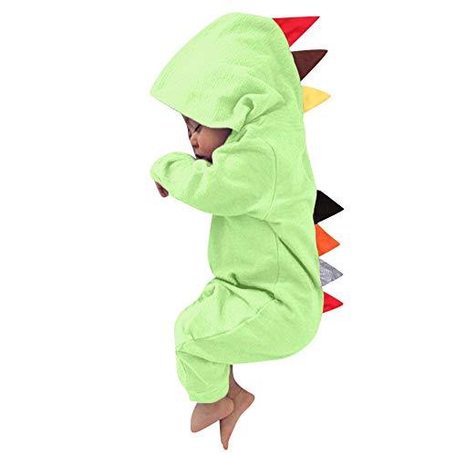MRULIC Neugeborenes Baby Jumpsuit Outfit Dinosaurier Reißverschluss mit Kapuze Spielanzug Overall Outfit Kleidung Niedlicher Babyschlafsack Onesies Herbst und Wintermodelle(Grün,75-80CM)