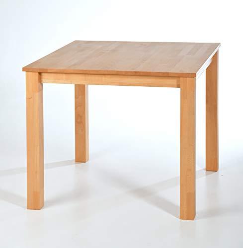 acerto Esstisch Massiv aus Buche, 90 x 90 cm * Hartwachsöl * Extrem Robust * Massivholz Buchentisch Großer Holz-Tisch rechteckig als Esszimmertisch