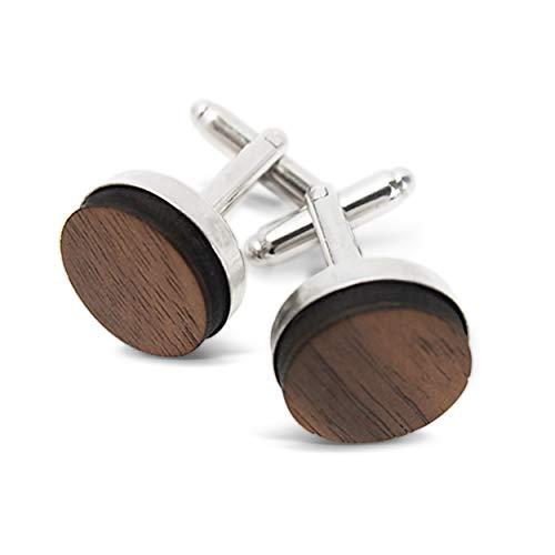 Smartwoods Manschettenknöpfe Manschette Eiche, aus Holz, echtes Holz, Eichenholz, rostfreier Stahl, Schutzschicht, hand made, handgefertigt, hohe Ausführungsqualität. (NußHOLZ, Edelstahl)