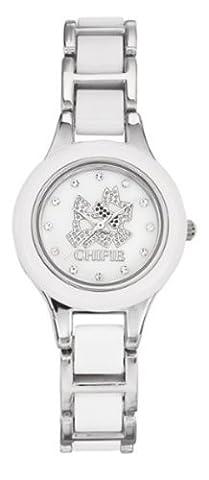 Chipie - 5205802 - Montre Fille - Quartz Analogique - Cadran Blanc - Bracelet Acier - Blanc