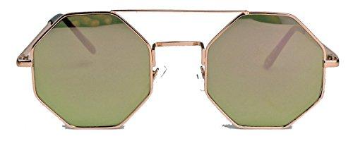 Vintage Octagon Sonnenbrille Damen Herren Hippie Lennon Metall Rahmen LN9 (Gold / Gold verspiegelt)