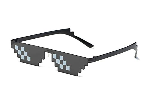 Thug Life Brille, Like a Boss Sunglasses, 8 Bit Mosaik Sonnenbrille, Pixel Deal with it glasses, Unisex Pixelbrille, Partygag für coole Dudes