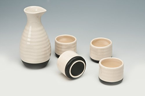 "Sake Set ""Yokohama,"" blanco color, 5 piezas, cerámica, ideal para sake japonés"