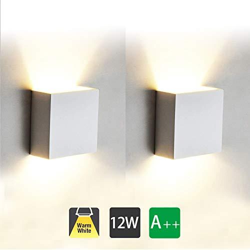2 Pcs Moderno Lampara de Pared LED, 12W Aplique Pared Interior de Aluminio 3000K Blanco Cálido Perfecto...
