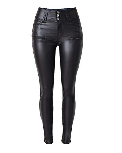 Aden Damen Leggings Hose PU Lederhose Skinny Low Rise Stretch Punk Motorradhose Röhrenhose - Low Rise Bootcut Lederhose