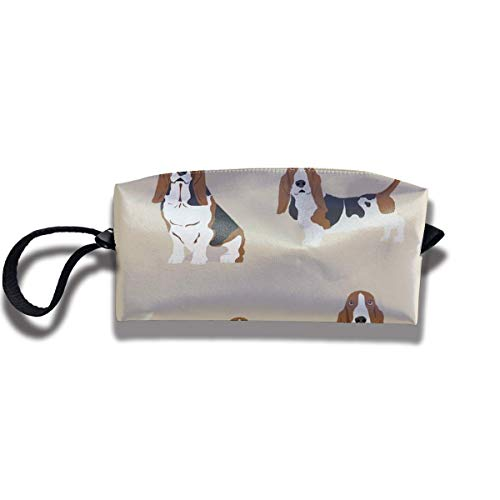 Basset Hound Dog Beige Portable Travel Makeup Bag Toiletry Bags Cosmetic Bag -