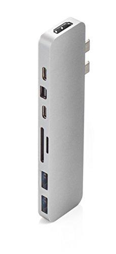 Hyperdrive PRO HUB - USB C Adapter für Apple Macbook Pro - 8in2 Multiport [ HDMI, 2x USB-C, 2x Usb3.1, Mini DisplayPort, Micro SD/SD Card ] Silver