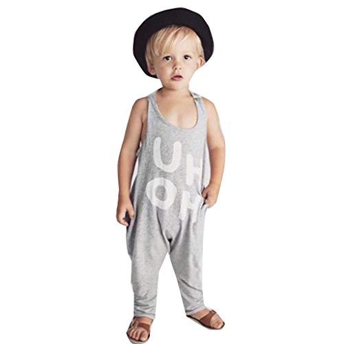 loser Kinder-Neckholder-Overall mit Buchstabenmuster Prinzessin Schuhe Süß 3D UH OH Muster Hose Romper Spielanzug Kleidung Outfit(6M-4T) ()