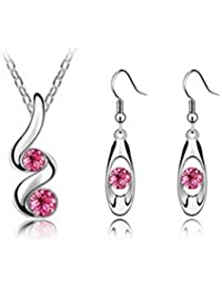 Twisted Crystal Rose Jewellery Set Elements