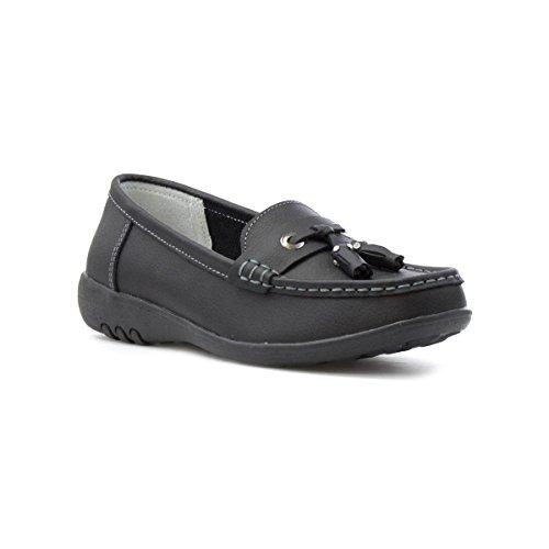 Cushion Walk Womens Black Leather Loafer Shoe - Size 7 UK -...
