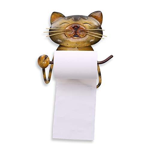TOOARTS portarotolo Gatto Vintage Ferro Lavorato Mano con Porta Asciugamani Porta Carta igienica Supporto Porta Asciugamani Piedi per Bagno o Cucina