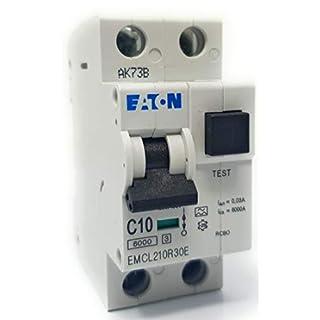 Eaton EMCL210R30E - RCBO 10A 6kA C SPN 30mA Trip Typ A Leitungsschutzschalter mit Test