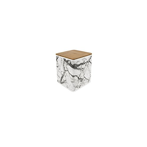 Present Time Aufbewahrungsdose aus Metall in Marmoroptik/Holzdeckel