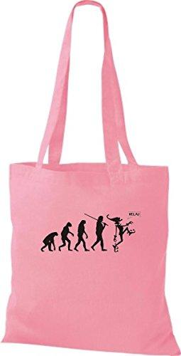 ShirtInStyle Stoffbeutel Karneval Evolution Karneval, Faschingsclown Helau, Kostüme verkleiden, viele Farben rosa
