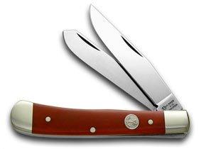 German BOKER Tree Brand Trapper-Smooth Red Bone Handles Pocket Knife Knives