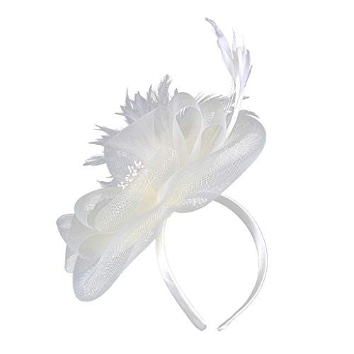 Fascinator Haar Clip Accessoire Tea Party Hochzeitskirche Kopfbedeckung für Frauen Damen Elegante Bowknot Feder Hochzeit Cocktail Schleier Hut Mesh Net Braut Haarschmuck Haarreif Derby -