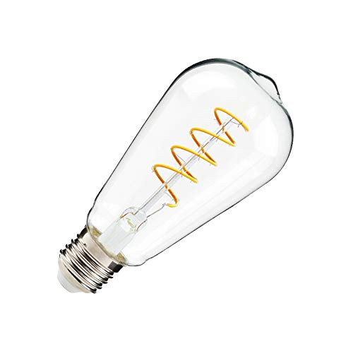 Bombilla LED E27 Regulable Filamento Espiral Big Lemon ST64 4W Blanco Cálido 2000K-2500K efectoLED