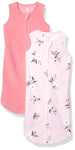 Amazon Essentials 2-Pack Microfleece Baby Sleep Sack Infant-and-Toddler, Motif Floral Rose, 0-6 Months