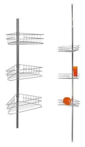 Teleskop Eckregal für Bad & Dusche Badregal Duschecke mit 3 Ablagekörben höhenverstellbar