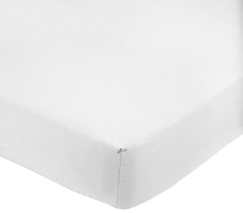 AmazonBasics 200-Thread-Count Polycotton Fitted Sheet, Super King Size - White