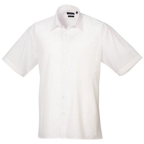 Preisvergleich Produktbild Premier Popelin Herren Hemd, kurzärmlig (Kragenweite 44,5 cm) (Weiß)