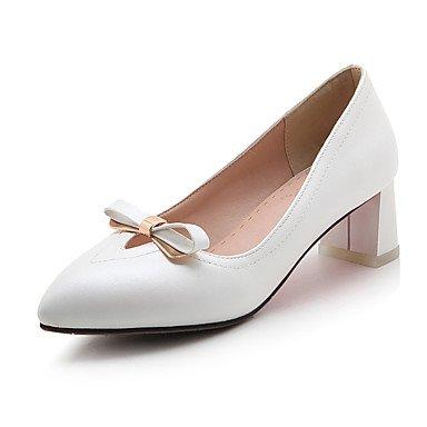 Les talons des femmes Printemps Été Automne Hiver Chaussures Club Bureau PU & Carrière Partie & Robe de Soirée Talon Bowknot Rose Blanc Bleu clair White