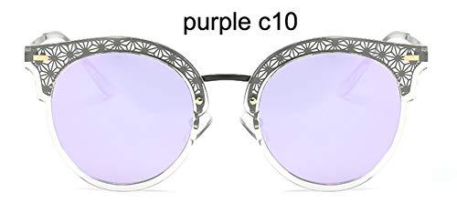 LKVNHP Festival Uv400 Polarisierte Katzenauge Sonnenbrille Damen Spiegel Mode Hohe Qualität Anti-reflektierende Frauen BrilleWPGJ102 Lila C10
