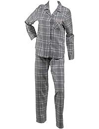 Ladies 100% Cotton Tartan Check Pyjamas Long Sleeve Button Up Top   PJ  Bottoms Set 21e8ade16