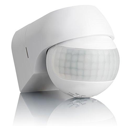 SEBSON® Bewegungsmelder Aussen IP44, Aufputz, Wand-Montage, programmierbar, Infrarot Sensor, Reichweite 12m / 180°, Einbau-Bewegungssensor LED-geeignet, schwenkbar