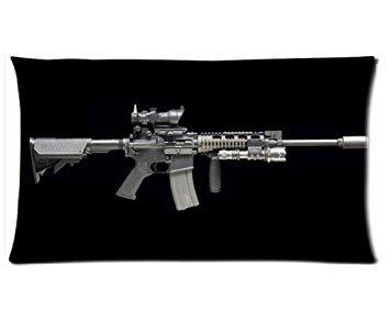 New Black Cool Gun Pillow Case,Assault Rifle Custom 20x36 inches Two Sides (Multi-gun-case)