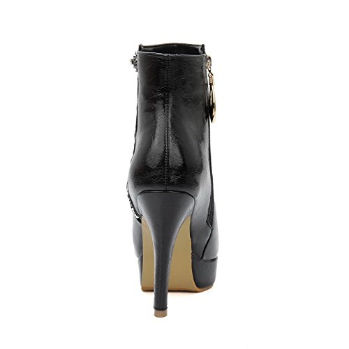 VogueZone009 Donna Tacco Alto Chiodato Scarpe A Punta Cerniera Stivali con Metallo Nero