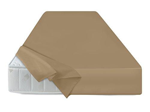 npluseins Bettlaken - 100{8312b4f9ec35f49dba2b317f444cd31b2a93616277975aba8941ea1d00cf2463} Baumwolle - in 5 Farben - in 3 Verschiedenen Größen - Haushaltstuch Ohne Spanngummi, ca. 180 x 275 cm, Sand