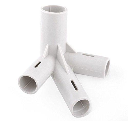 Tonnelle pièces de 4 voies BQ X2 Connecteurs de jointure supplémentaire 19 mm/25 mm tiges Bâtons adaptateur adaptateur en gris blanc cassé Gazeebo