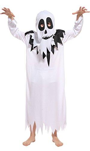 EOZY Kinder Weiß Geister Kostüm Jungen Halloween Karneval Horror Kostüm Verkleidung M Körpergröße 110-120cm (Horror Kostüme Für Jungen)