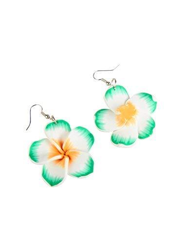 Schmuck Accessoires Und Kostüm - Generique - Hawaii Ohrringe Grüne Blume für Erwachsene