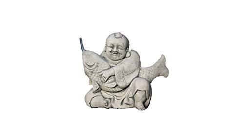 Wasserspeier Buddha mit Koi, Skulptur aus Steinguss
