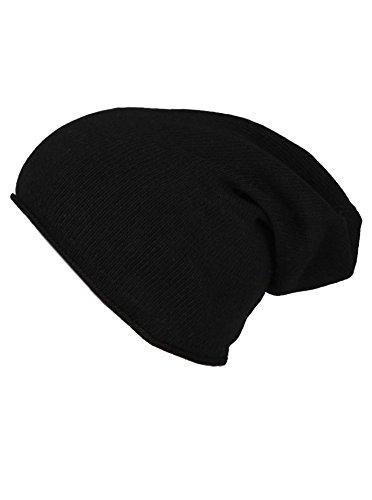 Cashmere Dreams Slouch-Beanie-Mütze mit Kaschmir - Hochwertige Strickmütze für Damen Mädchen Jungen - Hat - Unisex - One Size - warm und weich im Sommer Herbst und Winter Zwillingsherz (black)