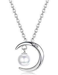 e54240c056f6 Besteel Plata de Ley 925 Collar Moon Perla para Mujeres Mama Luna Colgante  Collar de Perlas