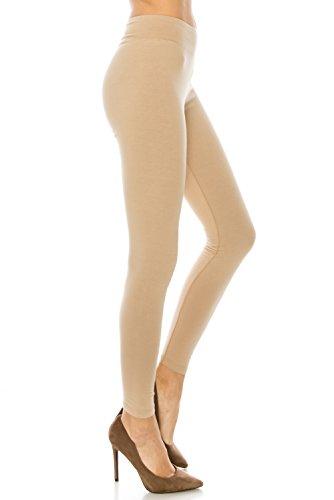 BaumwollSpandex Grund Knit Jersey Leggings für Frauen Beige S (Womens Knit Leggings)