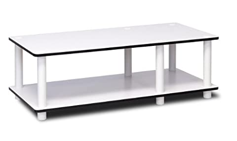 Furinno 11174WH(EX)/WH Just No Tools Mid TV Stand, White w/White