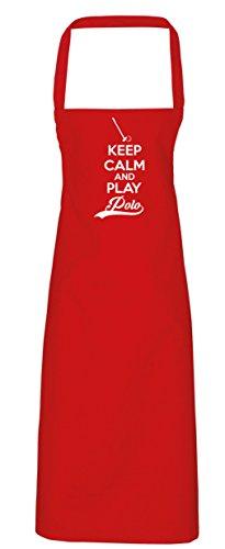 hippowarehouse Keep Calm and Play Polo Schürze Küche Kochen Malerei DIY Einheitsgröße Erwachsene, rot, (Dem Unter Meer Kostüme Diy)